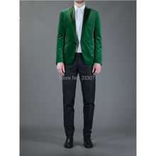2016 Handsome Green Men Wedding Prom Suits Custom Made Slim Fit Groomsman Tuxedos 2 Pieces One Button Best Man Suit Jacket+Pants