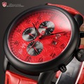 New Shark Sport Watch Chinese Character Indicates Red Wristwatches Auto Date Leather Strap Relojes Men Military Quartz  / SH125