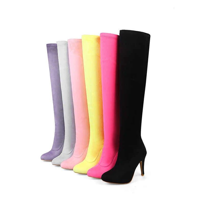 WETKISS Artı Boyutu 34-48 Yeni 2019 Yeni Moda Bahar Kış Streç Akın Uyluk Yüksek Çizmeler Kadın Yüksek Topuklu diz Çizmeler Üzerinde