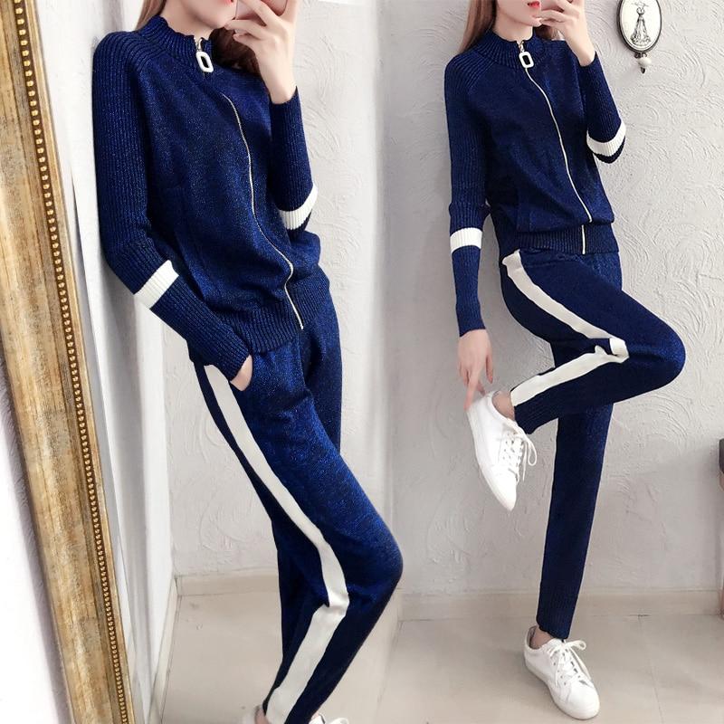 Pantalon Automne Nouvelles Décontracté Chandail Coréenne Costume Mode Bleu Ensembles Printemps Slim Deux Femmes Tricot De Et pYa0ng