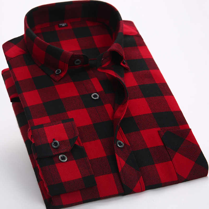 Red And Black Plaid Flannel Mens Shirts Long Sleeve Social Masculino Brand Autumn Button Checkerboard Male Shirts Chemises Homme