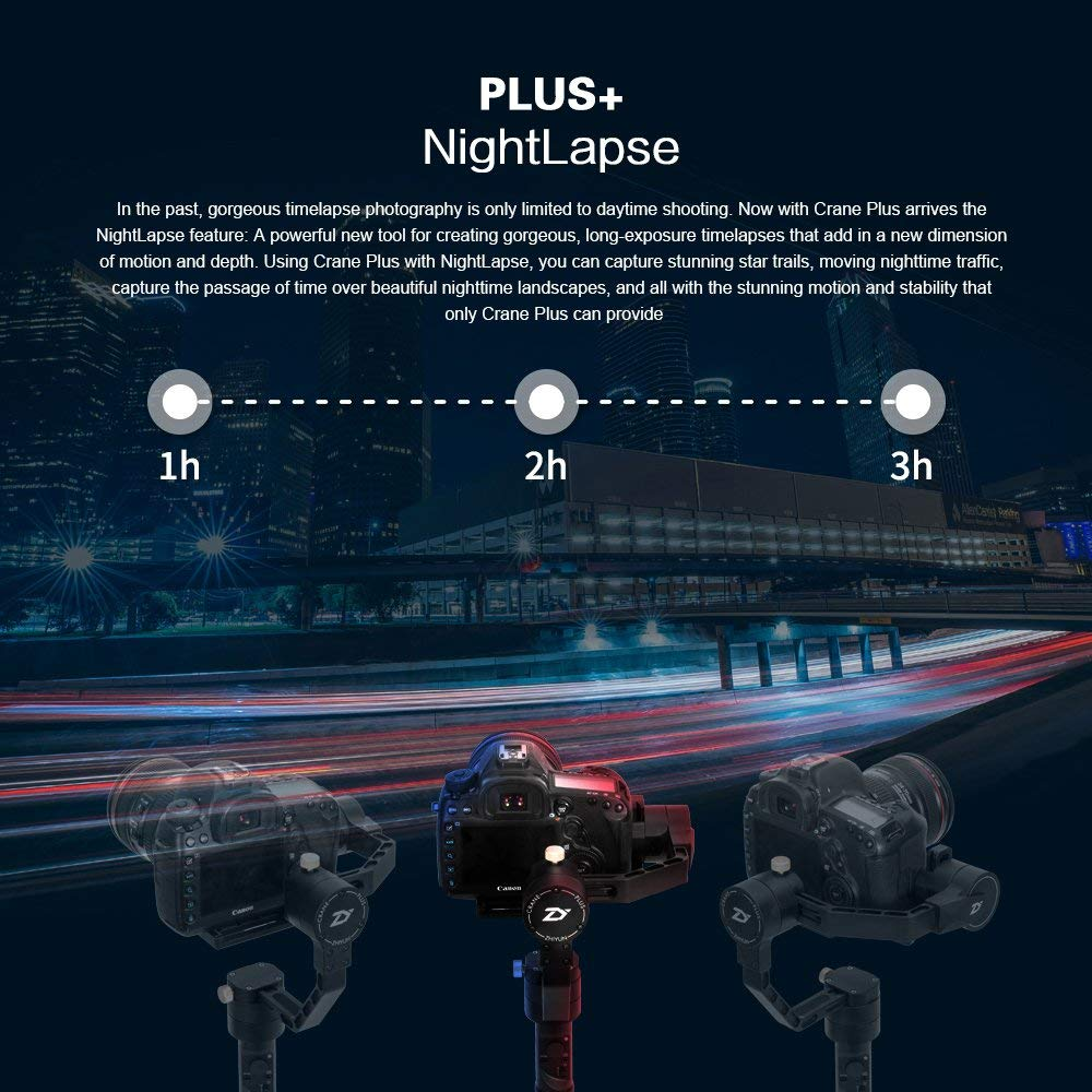 Zhiyun Crane Plus 3 Axis Handheld Gimbal for Sony Canon DSLR Mirrorless Camera 5.5lb Payload Tiqmelapse Object Track FPV POV Mode22