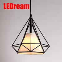 Free With Led Bulb Colorful Birdcage Pendant Lights Iron Retro Light Oft Pyramid Lamp Metal Cage