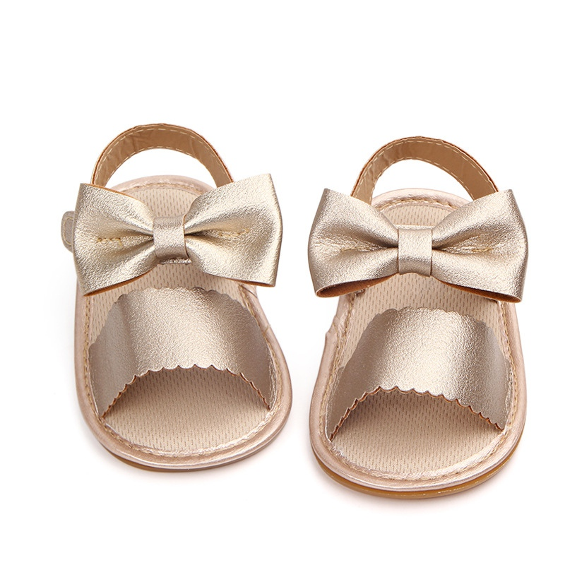 Summer Baby Girl PU Leather Princess Shoes Soft Sole Anti-slip Bow-knot Crib Shoes First Walkers