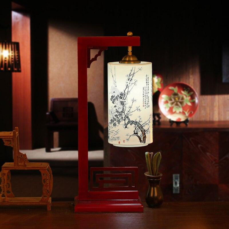 Керамика Новый китайский стиль Ретро настольные лампы спальня ночники LED твердой древесины гостиная исследования свет стол za1127942
