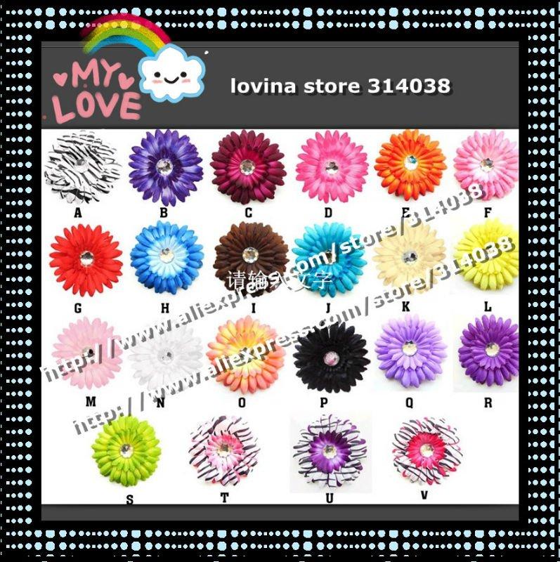 Mode Livraison Gratuite 120 pièces Crochet Bandeaux + 120 pièces Gerbera Daisy Fleurs/Bébé Cheveux Arcs, Headbows, Enfants Tête Accessoires