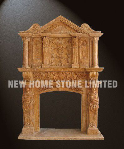 Double Deck Fireplace Large Size Antique Marble Mantel 100 Hand Carved