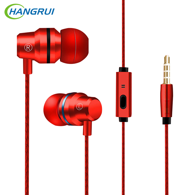 Hangrui Earphone Wired In-ear Hearphones  Earphones Super Portable HIFI Headset Wire Control  With Mic All Compatible 5 Colors hangrui xba 6in1 1dd 2ba earphone hybrid 3 drive unit in ear headset diy dj hifi earphones with mmcx interface earbud for phones