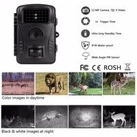 Game Trail Camera 720P HD with Sound No Glow Black Infrared Night Vision Scouting Camera for Wildlife Hunting