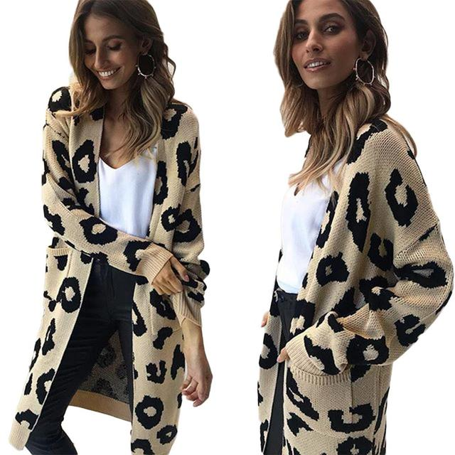 cf32c3767e 2018 New Women Long Sleeve Jacquard Dot Printed Cardigan Knitted Sweater Open  Front Loose Sweaters Jumper Outwear Jackets Coat