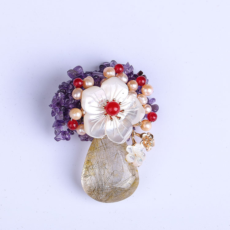 Pendant Natural-Freshwater-Pearl-Brooch Corsage-Pin Handmade Dual-Use Luxury Genuine