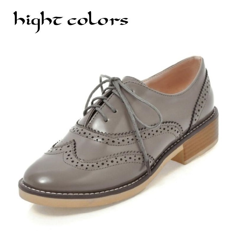 2018 New Trend Women Shoes Round Toe Oxfords Woman British Style Female Footwear Lace-up Causal Shoes Fashion Flats Woman 26.5CM