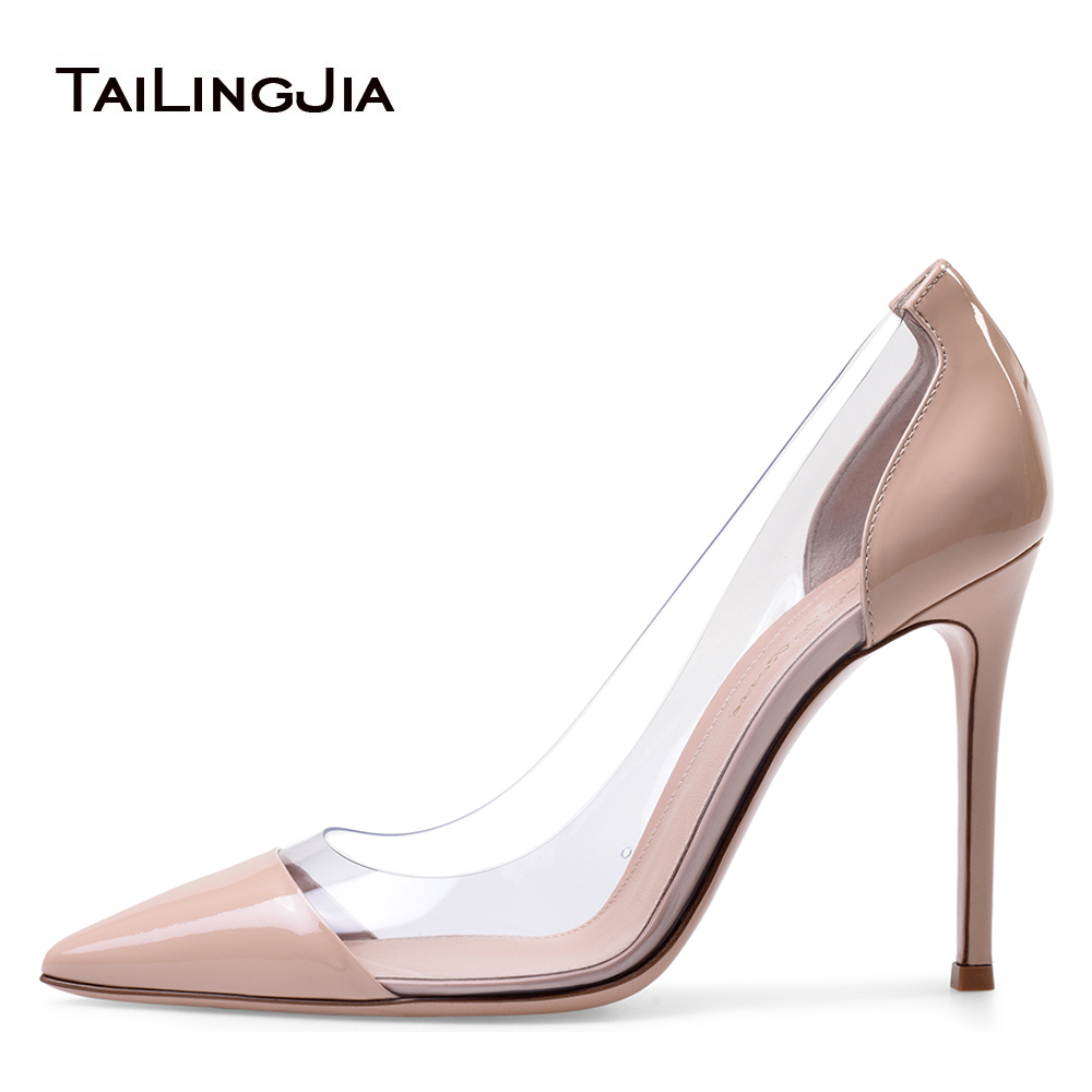 Plexi High Heel Pumps for Women Pointed Toe PVC Court Shoes Transparent Stiletto Heels Spring Summer Ladies Dress Shoes 2018 aiweiyi 2018 summer women shoes pointed toe stiletto high heel pumps dress shoes high heels gold transparent pvc shoes woman