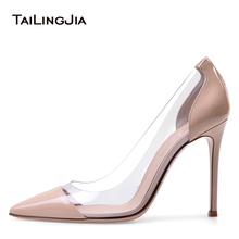 Plexi High Heel Pumps for Women Pointed Toe PVC Court Shoes Transparent Stiletto Heels Spring Summer Ladies Dress Shoes 2018 недорого
