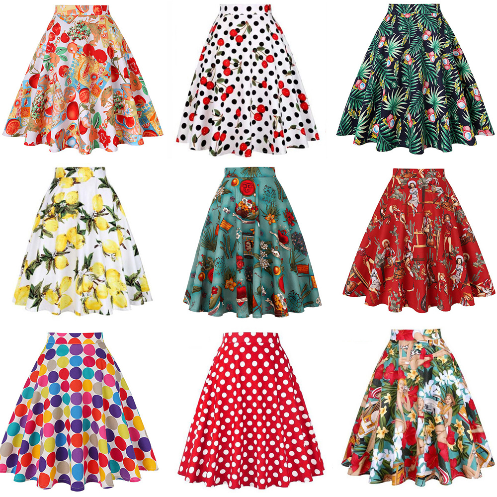 2019 Retro 50s Vintage Women Skirt High Waist Pleated Midi Skirt Women's Clothing Summer Audrey Hepburn Vintage Big Swing Skirts