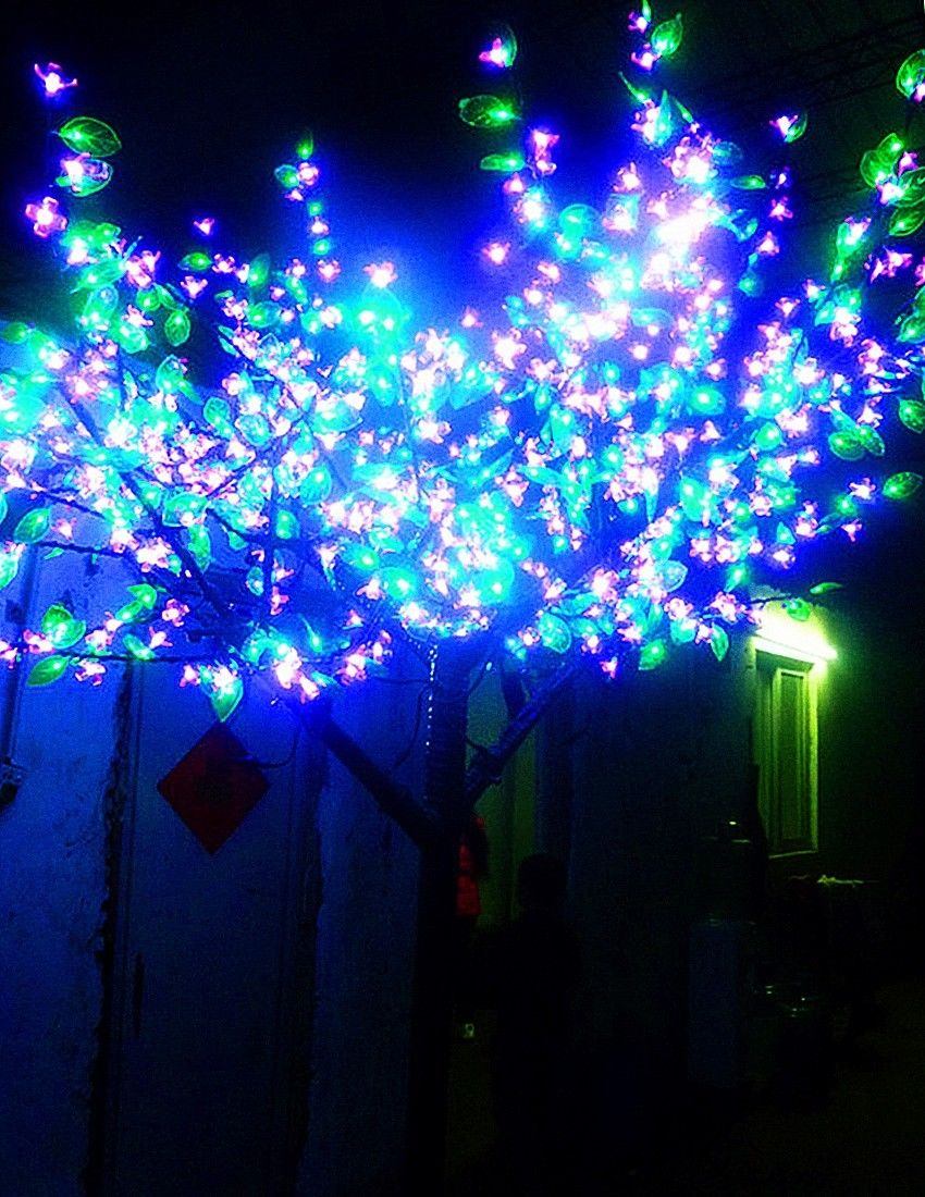 2M 6.6ft LED Cherry Blossom Tree Outdoor Christmas Wedding Holiday Light Decor 1152 LED Pink Cherry Flower+Green leaf waterproof led battery plum blossom flower tree night light adjustable waterproof atmosphere decorative lamp bedroom wedding holiday light
