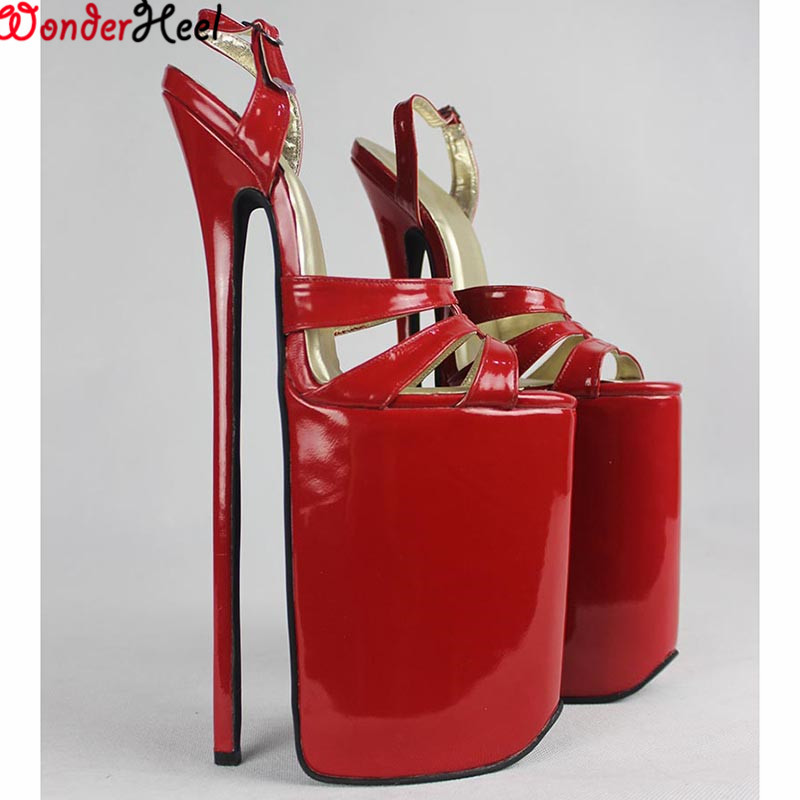 aec17e010abc Wonderheel FULL GRAIN LEATHER Extreme high heel 30cm heel 16cm platform  Sexy fetish High Heel BUCKLE STRAP sex SANDALS Big yard-in Women s Sandals  from ...