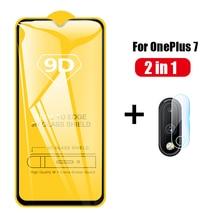 Para OnePlus 7 One Plus 7 OnePlus7, cristal 9D de cobertura completa, cristal templado 9D + Protector de lente de cámara trasera, Protector de pantalla de película para 1 + 7 1 Plus7