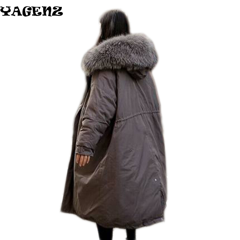 2017Winter Women Parkas new large fur collar cotton coat female Korean version of the long section of thickening students cotton 2017 winter new clothes to overcome the coat of women in the long reed rabbit hair fur fur coat fox raccoon fur collar