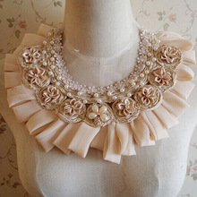Pearl Beaded Patches 1 Pcs Chiffon Appliques Satin Flowers With Rhinestone For DIY Dress Shirt Collar