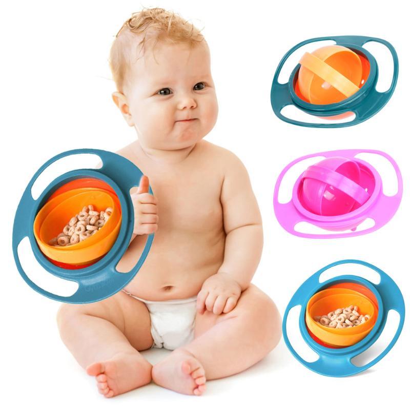 Universal Baby 360 Degree Rotary Gyro Umbrella Bowl Practical Spill-Proof Children Kids Tableware Feeding Balance Novelty Bowl