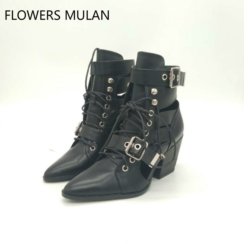 2018 Spring Summer Pointed Toe Women Boots Black Cuts Out Buckle Designer Lace Up Women Ankle Boots Punk Style Sexy Women Boots