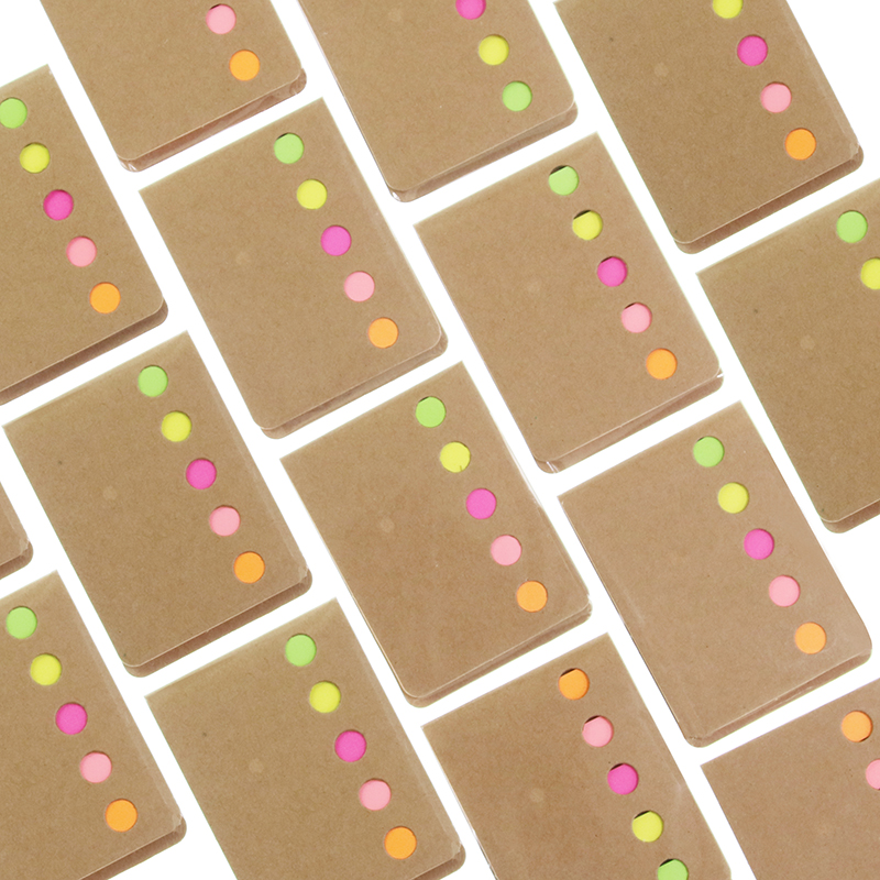 4 PCS Novelty Kraft Paper Cover Candy Color Memo Pad N-times Sticky Notes Bookmark Notepad School Office Supply Student Gift