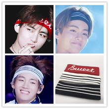 Korean Super Idol Group BTS Kim Tae Hyung The Same Headband Stripe Fashion Hairband A.R.M.Y Women Men Headwear K Pop Accessories(China)