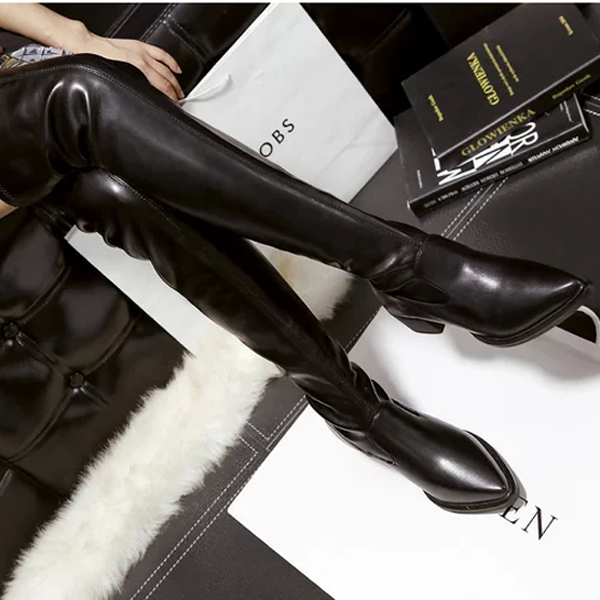 ORATEE  Women   Toe over the knee boots Ladies Autumn winter High heels boots Sexy thigh high boots botas mujer sexy women denim thigh high peep toe boots thin high heels zipper ladies over the knee long cowboy botas
