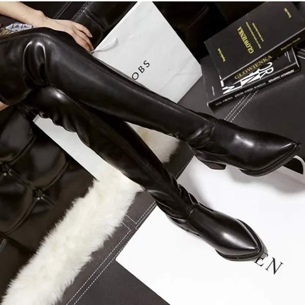 ORATEE  Women   Toe over the knee boots Ladies Autumn winter High heels boots Sexy thigh high boots botas mujer