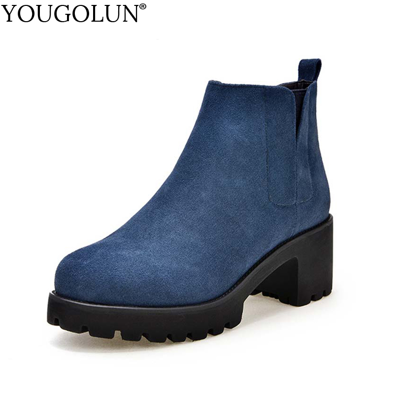 YOUGOLUN Women Ankle Boots Genuine Nubuck Leather 2018 Autumn Cow Suede Square Heel 6 cm High Heels Blue Platform Shoes #Y-216 yougolun women ankle boots 2018 autumn winter genuine leather thick heel 7 5 cm high heels black yellow round toe shoes y 233
