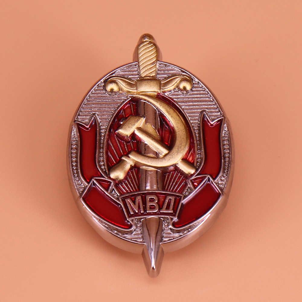 Tentara Rusia Pin Soviet Lencana Kehormatan Petugas Mvd Pekerja KGB Pesanan Lencana Uni Soviet Medali Bros untuk Pria Patriot Perhiasan hadiah
