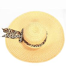 Summer Exquisite Leopard Ribbon Bowknot Decorated Openwork Sun Hat For Women trendy gauze bowknot decorated letters embroidery baseball hat for women