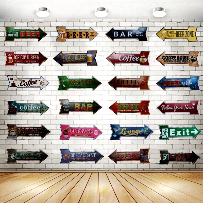 Нерегулярные оловянные таблички со стрелами, винтажный металлический постер, доска для рекламы, настенный пивной ресторан, Пивной магазин, ...