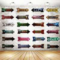 Flèche irrégulière étain signes Plaque métal Vintage affiche panneau publicitaire mur maison Pub Restaurant bière boutique Art décor 42X10CM U-1