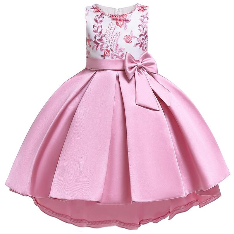 Robe de noël enfants filles concours fête d'anniversaire fleur fille robes de mariée pour filles robe sans manches en satin