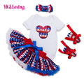 2016 Baby Girls Skirt Set White Romper+American Ruffles Tutu Skirts+Shoes Outfit 4 Pcs Sets with Hairband Kids Clothing F5025