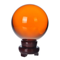 200mm Amber Crystal Ball Feng shui Magic Glass Ball with wooden base Sphere Figurines Miniatures Ornaments For Gifts Home Decor
