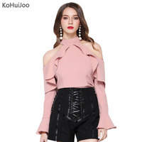 KoHuiJoo 2017 Pink Black White Blouse Shirt Women Fashion Casual Long Sleeve Blouses Ruffle Slim Off