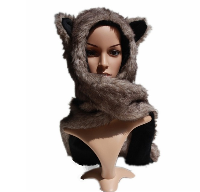 Retail New Faux Fur Women's Hat  Wolf  Winter Cartoon Plush Fur Animal Hats /Scarf  Gloves Sets Warm Caps 10 Color Beanies hot sale cute cartoon animal hats one piece chopper plush cosplay hat after pink color plush soft caps earmuff