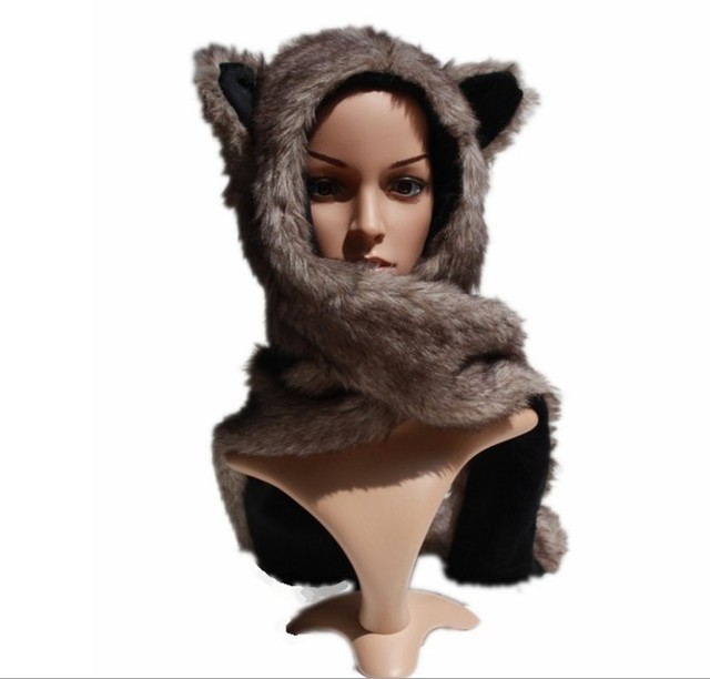 67316149b68b9 Retail New Faux Fur Women s Hat Wolf Winter Cartoon Plush Fur Animal Hats  Scarf  Gloves Sets Warm Caps 10 Color Beanies