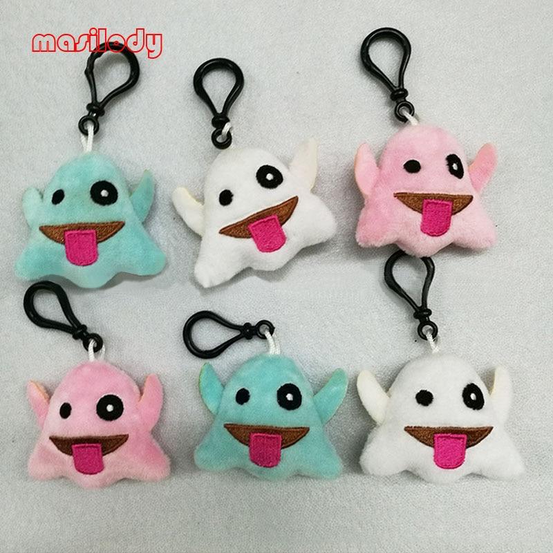 100pcs lot Ghost Keychain Plush Emoticon Hanger Key Plush Face Emoji Key Chain Fur Spirit keychains