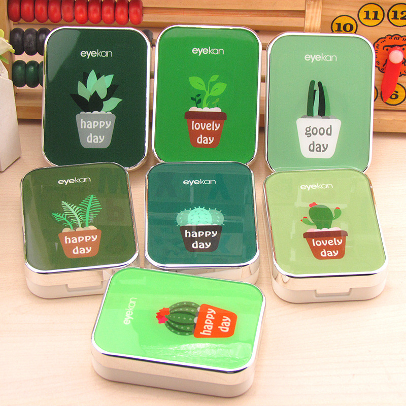 Cute Fashion Random Cactus Pattern Travel Glasses Contact Lenses Box Contact Lens Case For Eyes Care Kit Holder Container Men's Glasses