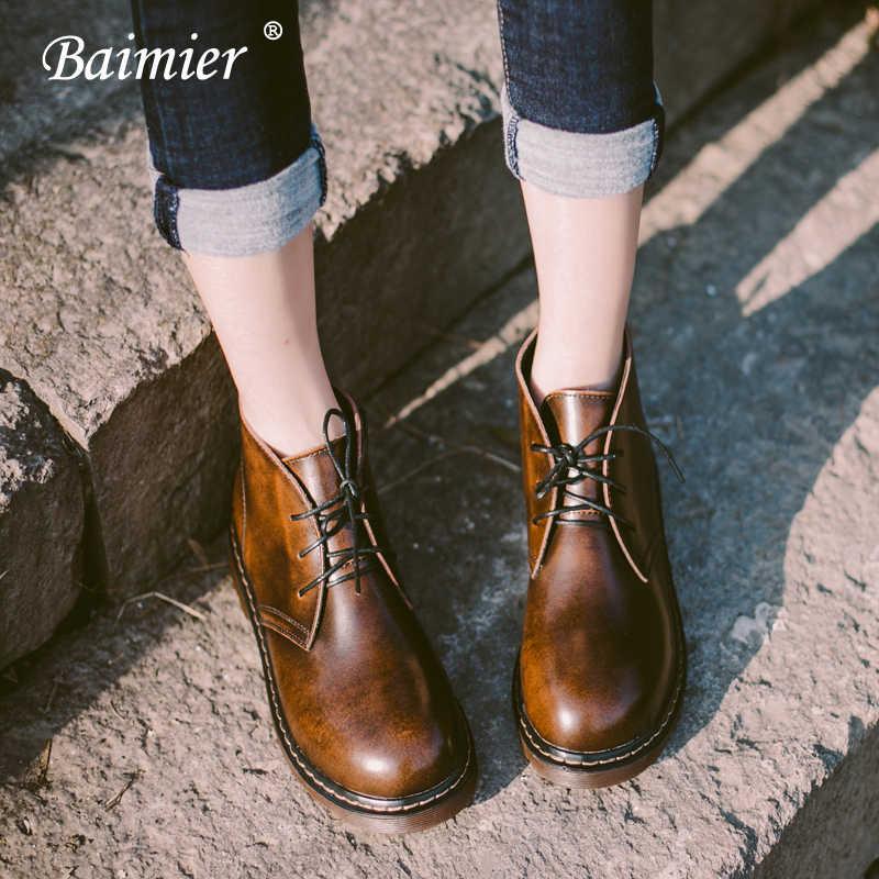 Baimier 英国本革アンクルブーツ女性のレトロなレースアップ女性のブーツラウンドトゥプラットフォーム暖かい豪華な女性の冬ブーツ