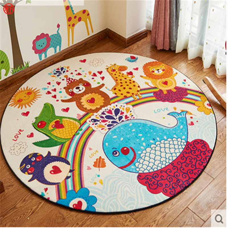 Home decor kids bedroom colorful animal rug cartoon carpet for Round rugs for kids