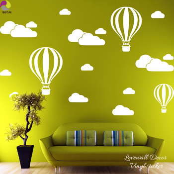 Online Shop Hot Air Balloons Clouds Wall Stickers Nursery Baby Room ...