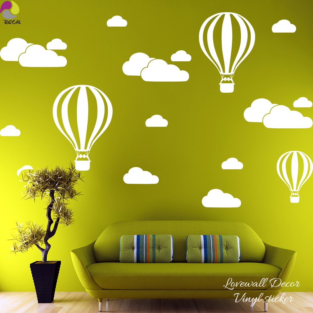 Cartoon Hot Air Balloons Cloud Wall Sticker Baby Nursery Kids Room ...