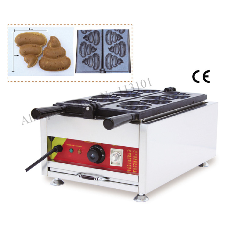 Korean style fat burning waffle fun shit-shaped cake maker excrement shape waffle machine with 6 pcs waffle moulds xeltek private seat tqfp64 ta050 b006 burning test
