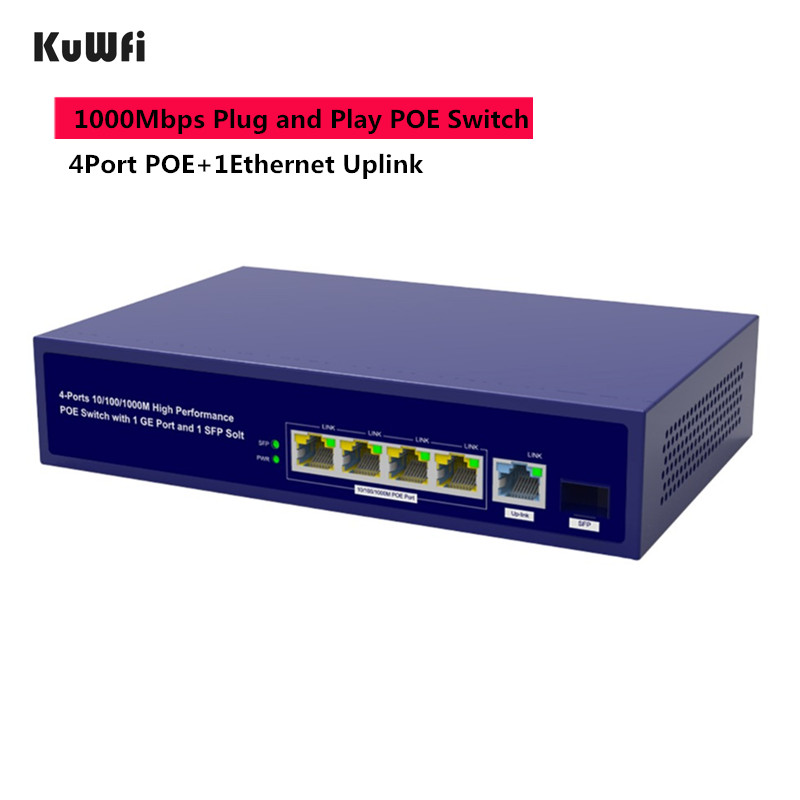 6Ports Gigabit POE Switch 1000Mbps Ethernet Switchs for Network Cameras&Wireless AP 30W Switch With Gigabit SFP Fiber-in Network Switches from Computer & Office