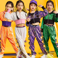 Jazz Dance Costumes Sequined Jacket Pants Kids Hip Hop Clothing Children Street Clothes Sequin Outfits Girls Show Wear DNV11079